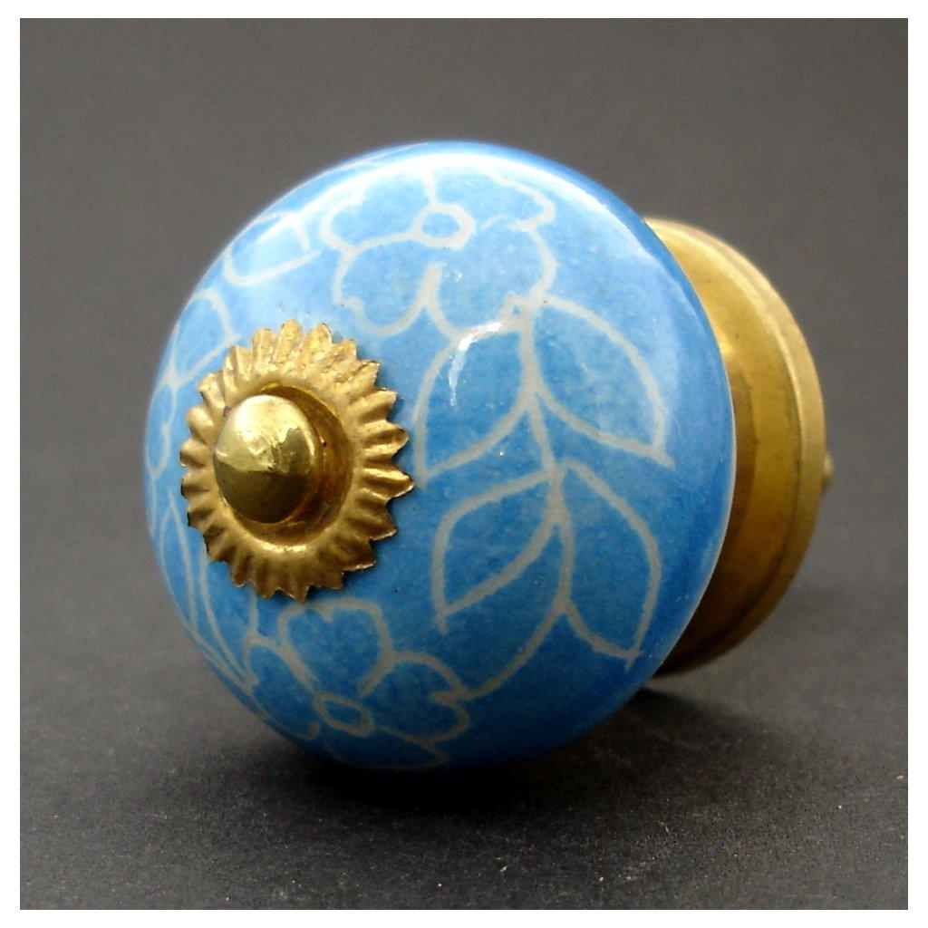 Keramická úchytka -Povíjnice modrá rytá