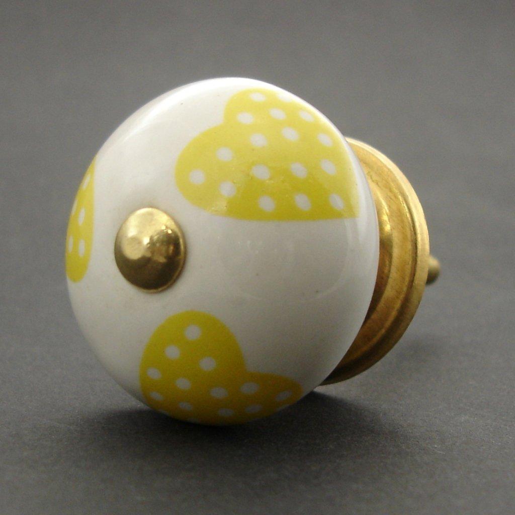 Keramická úchytka-Žlutá srdíčka světlá-POTISK