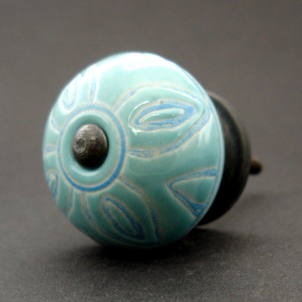 Keramická úchytka-Antika tyrkys