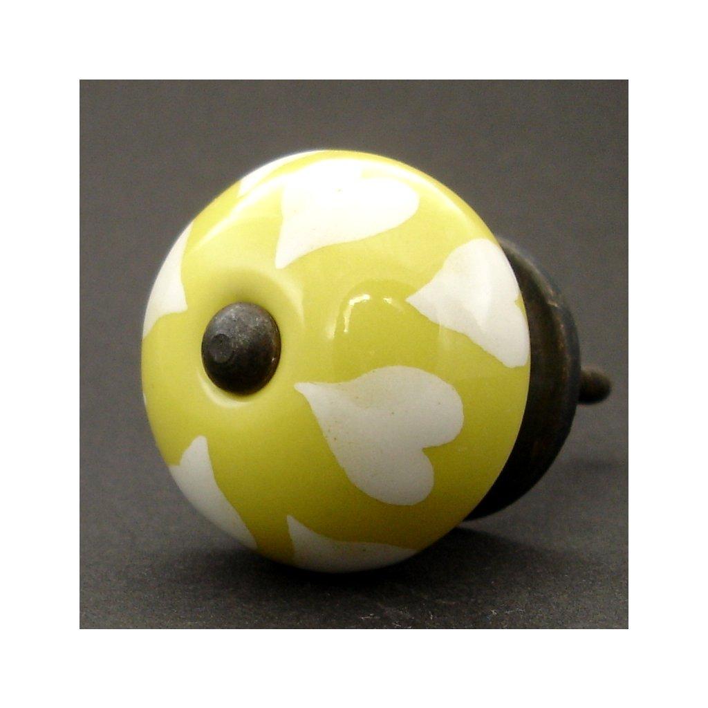 Keramická úchytka-Bílá srdíčka na žluté