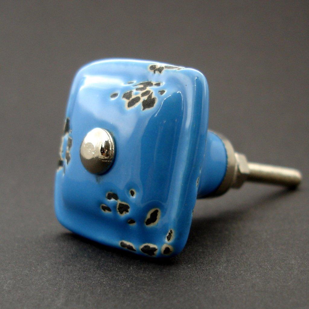 Keramický úchyt-Modrý s patinou
