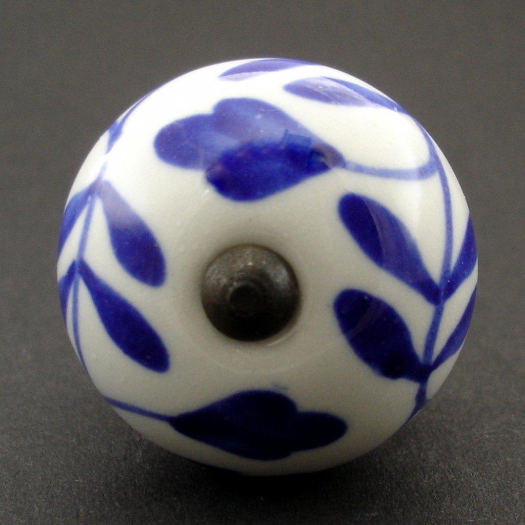 Keramická úchytka -Břečťan modrý