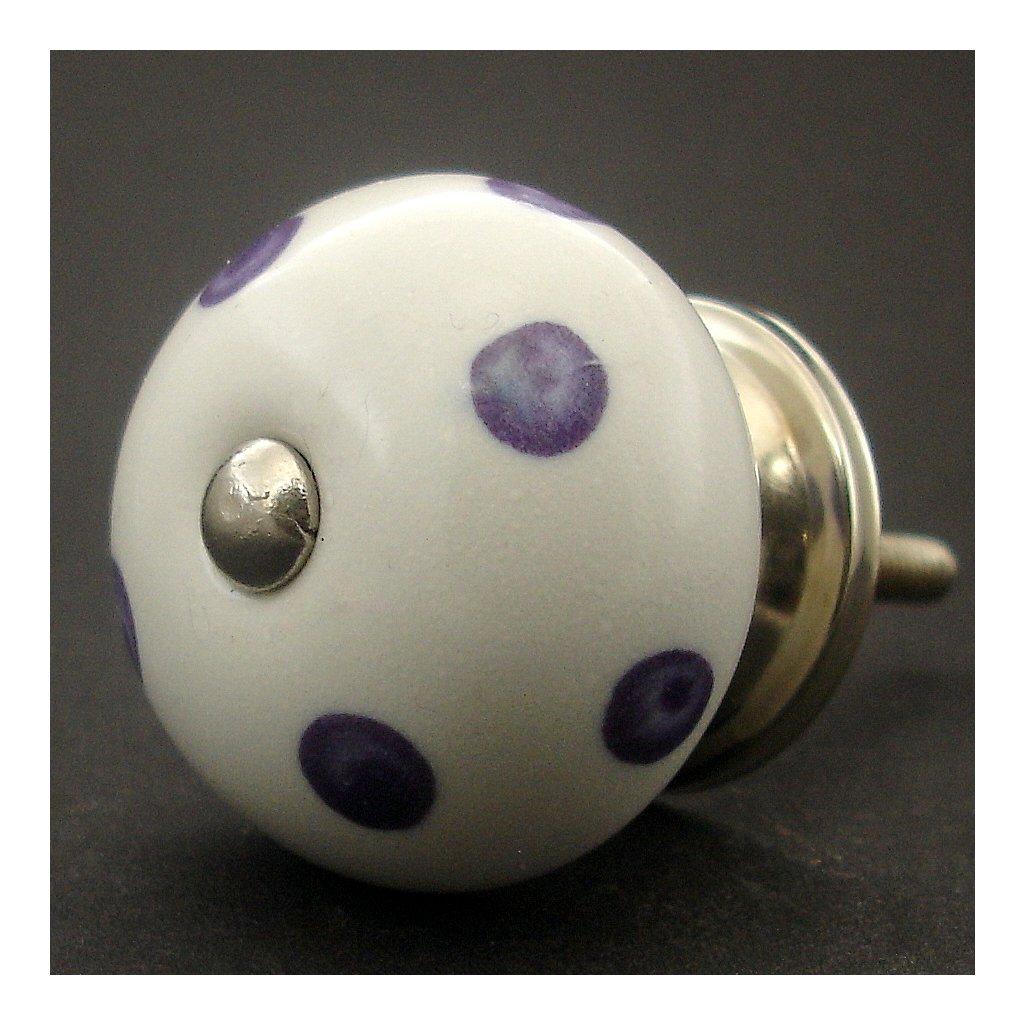 Keramická úchytka-Fialové puntíky