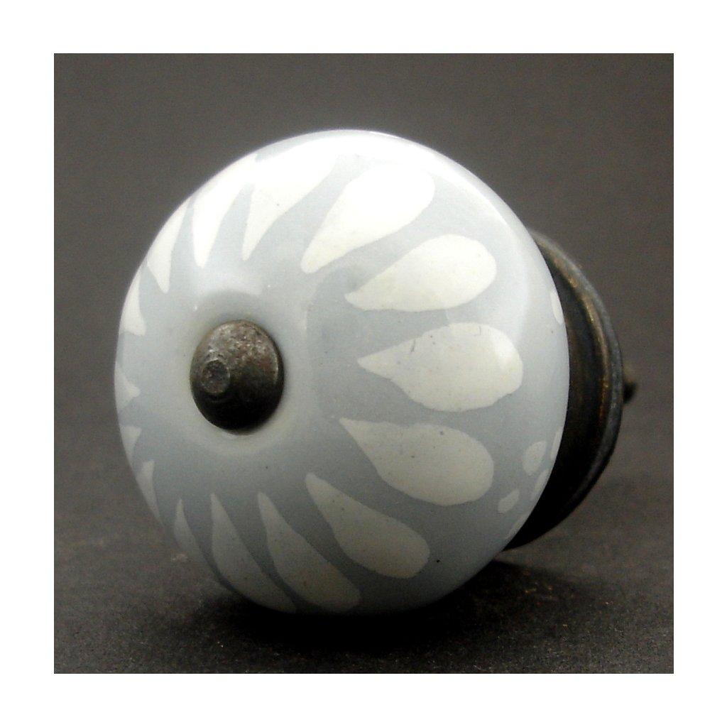 Keramická úchytka-Slzička světle šedá