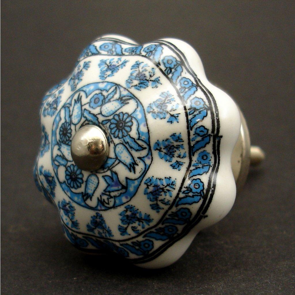 Keramická úchytka-Modrý potisk