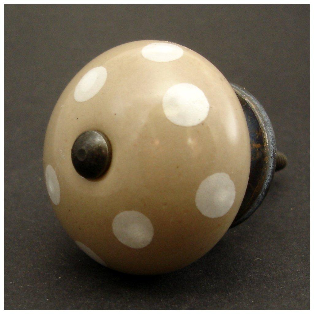 Keramická úchytka-Hnědobéžová s puntíky