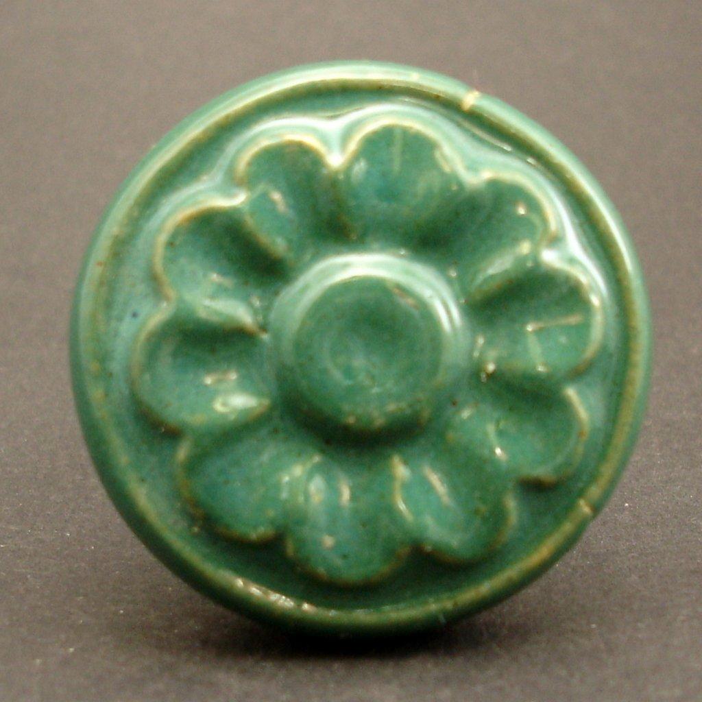 Keramický úchyt-Zelený květ vintage
