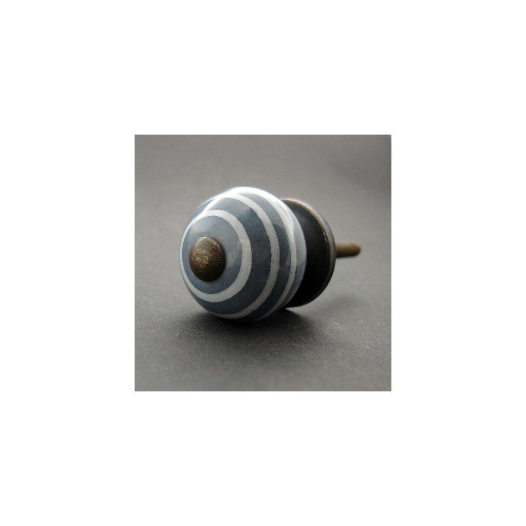 Keramická úchytka-Tmavá šedá s proužky-MALÁ