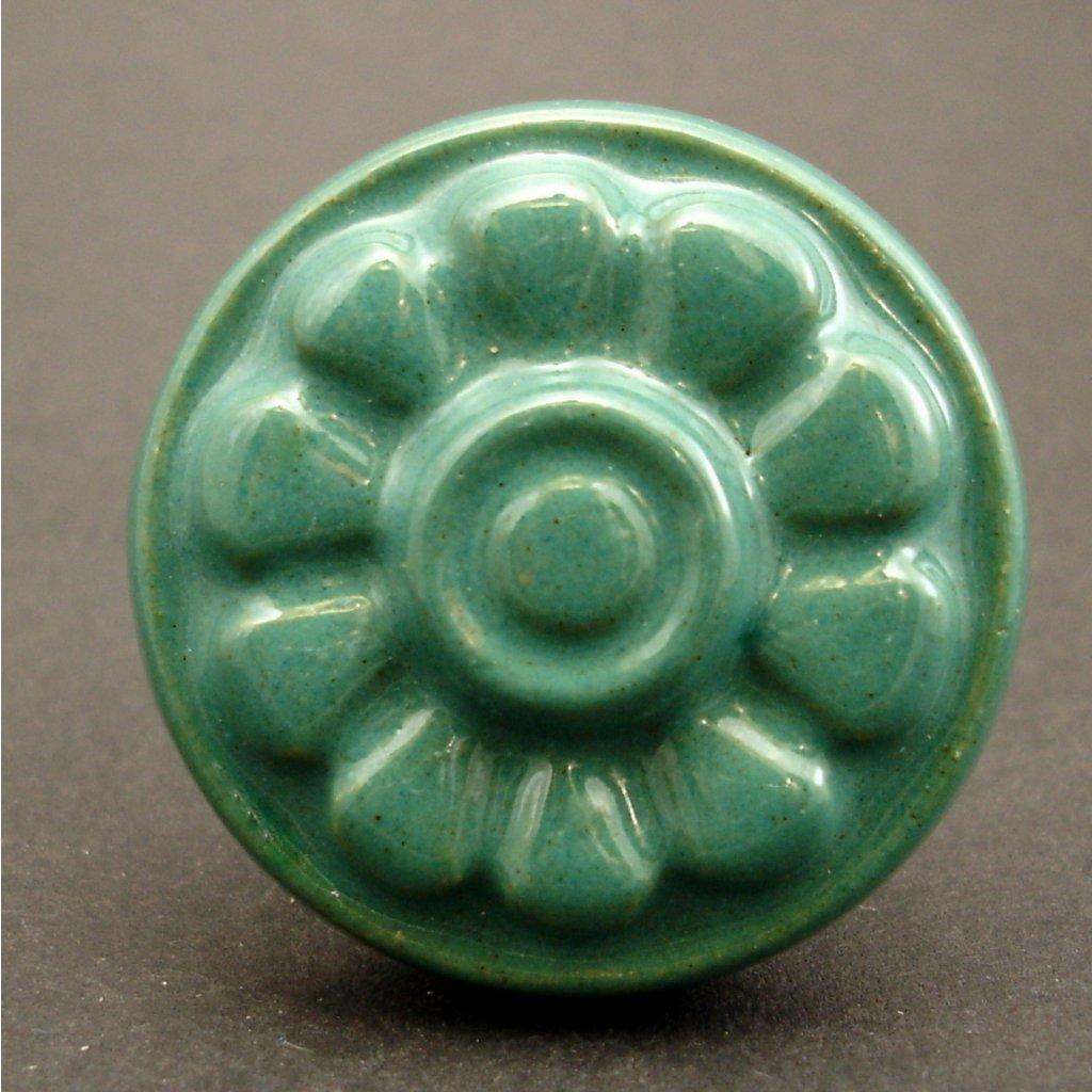 Keramický úchyt-Zelený květ vintage 2