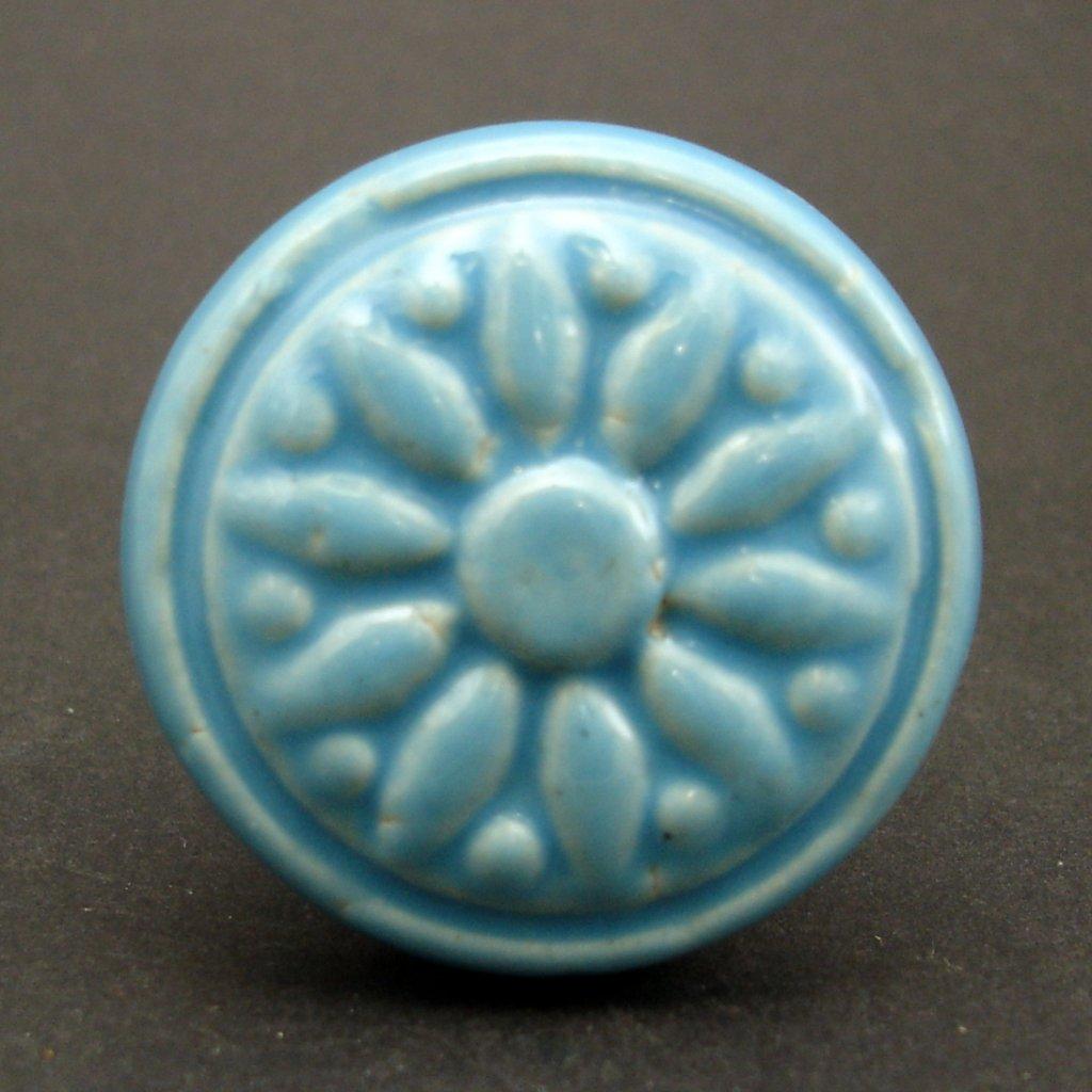 Keramický úchyt-Modré slunce vintage