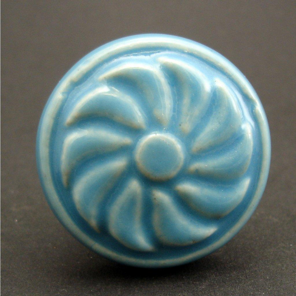 Keramický úchyt-Modrý větrník vintage