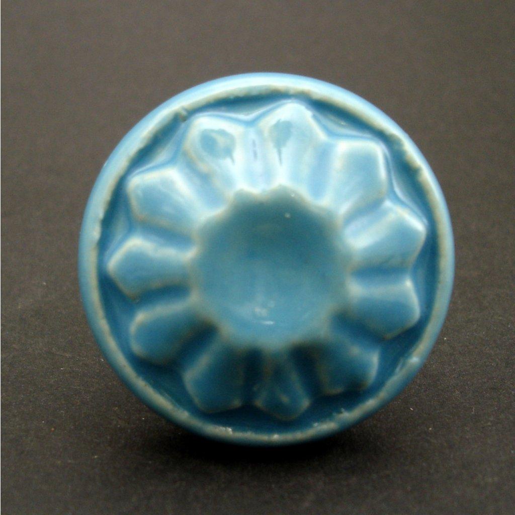 Keramický úchyt-Modrý knop vintage
