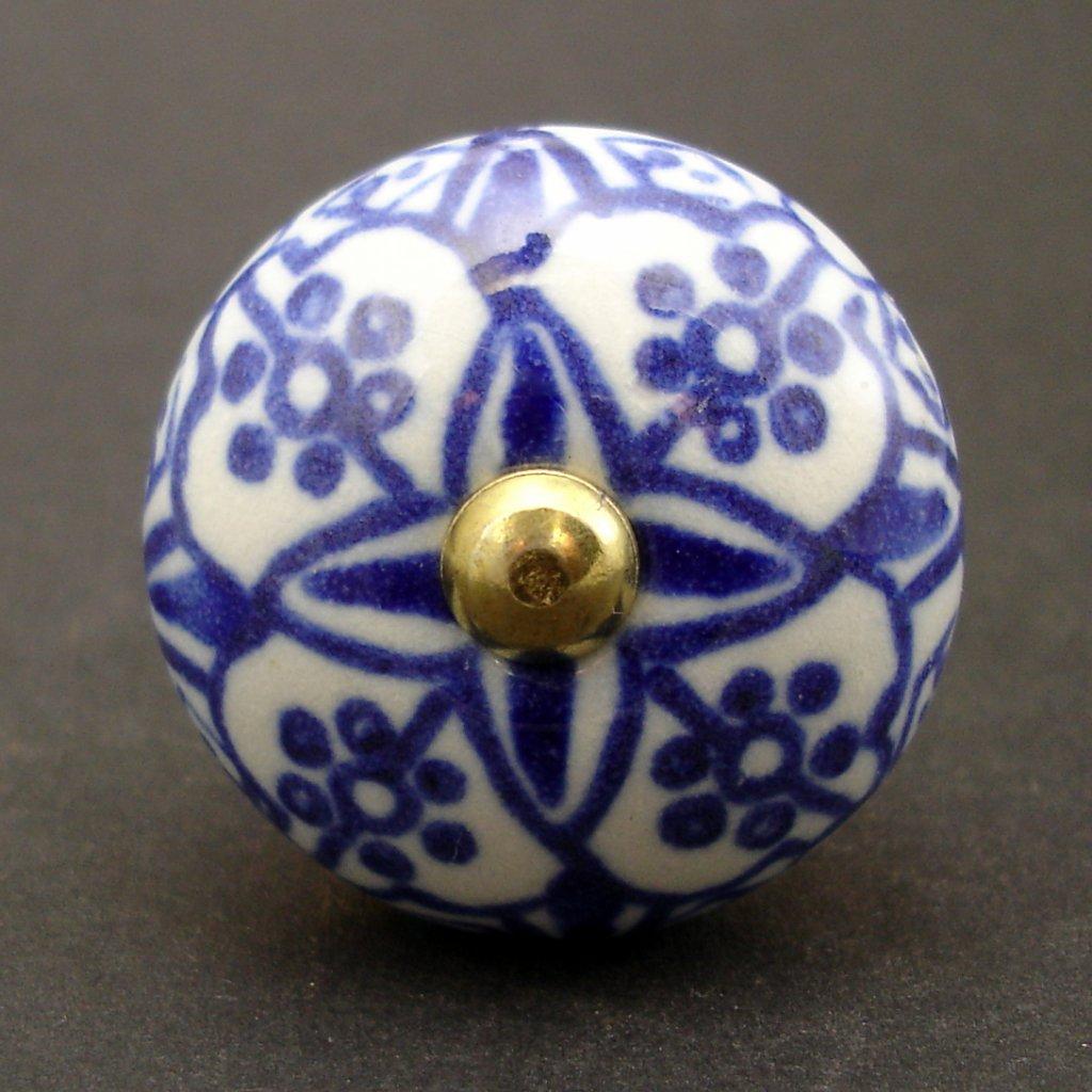 Keramická úchytka -Orient-modrá