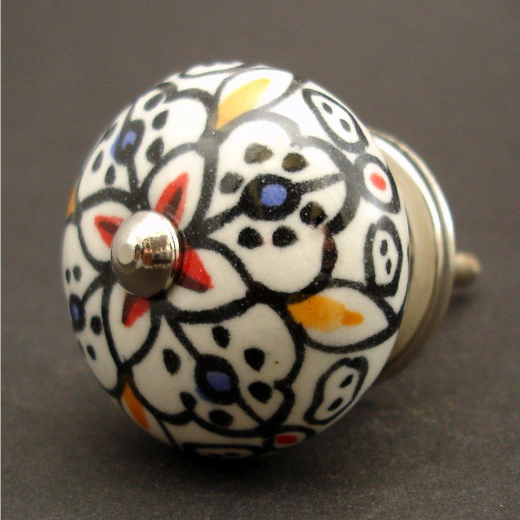 Keramická úchytka -Orient-černá s detaily