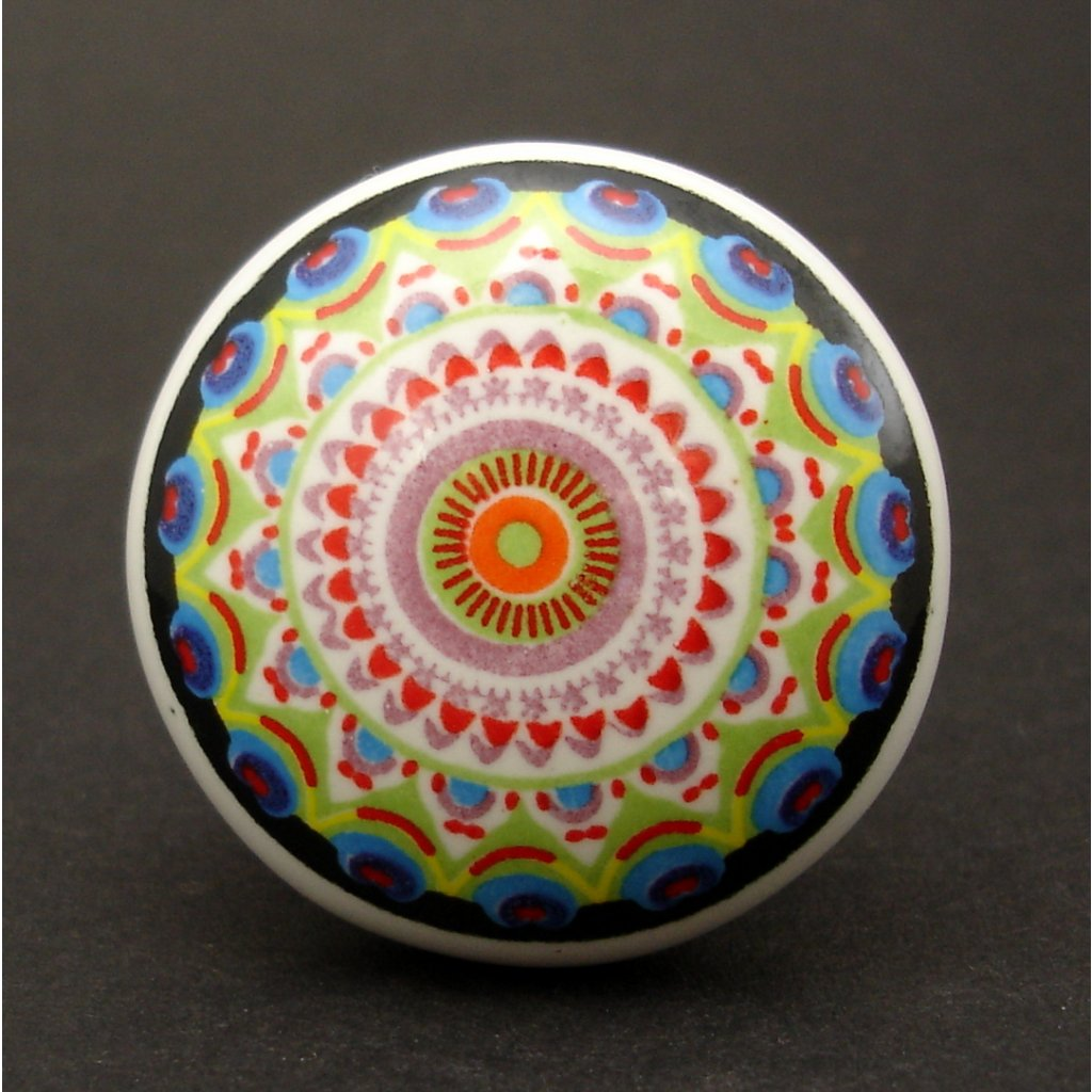 Keramická úchytka-Mandala pestrá-POTISK