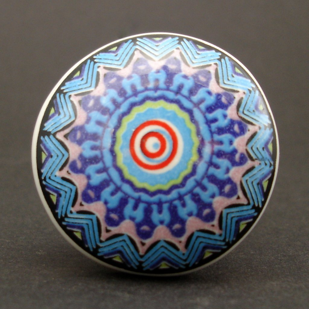 Keramická úchytka-Mandala modrorůžová-POTISK