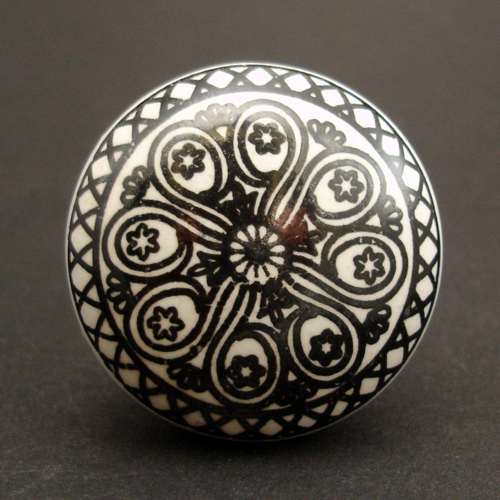 Keramická úchytka-Mandala černá-POTISK
