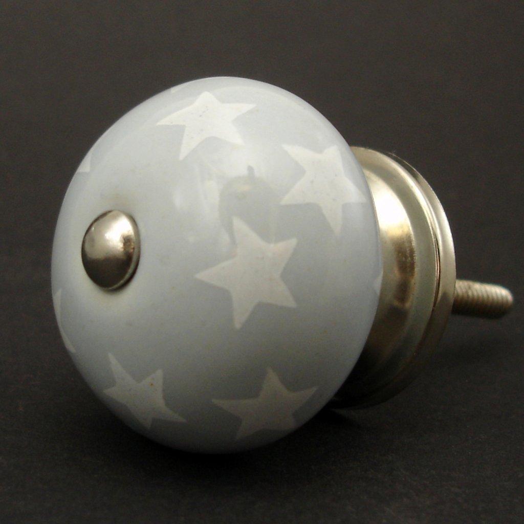 Keramická úchytka-Světle šedá a hvězdičky-POTISK