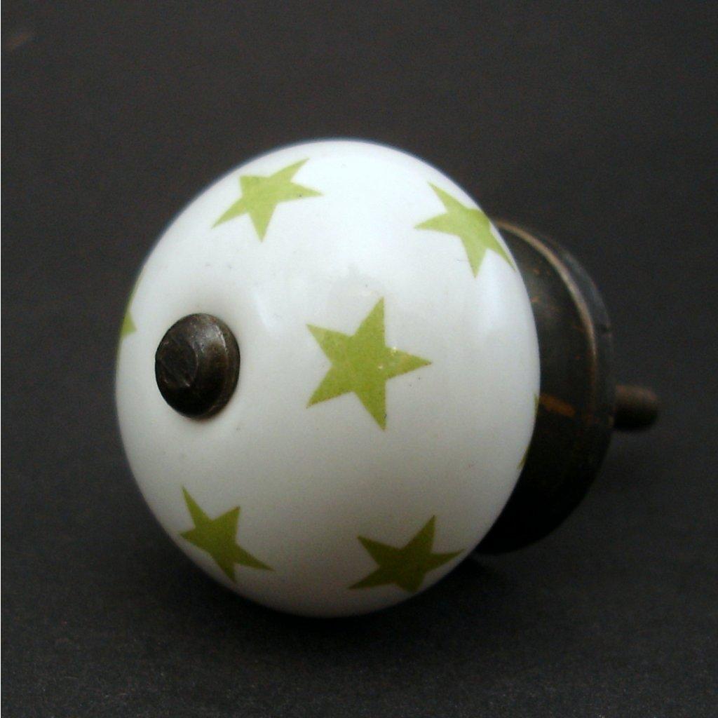 Keramická úchytka-Zelené hvězdičky-POTISK