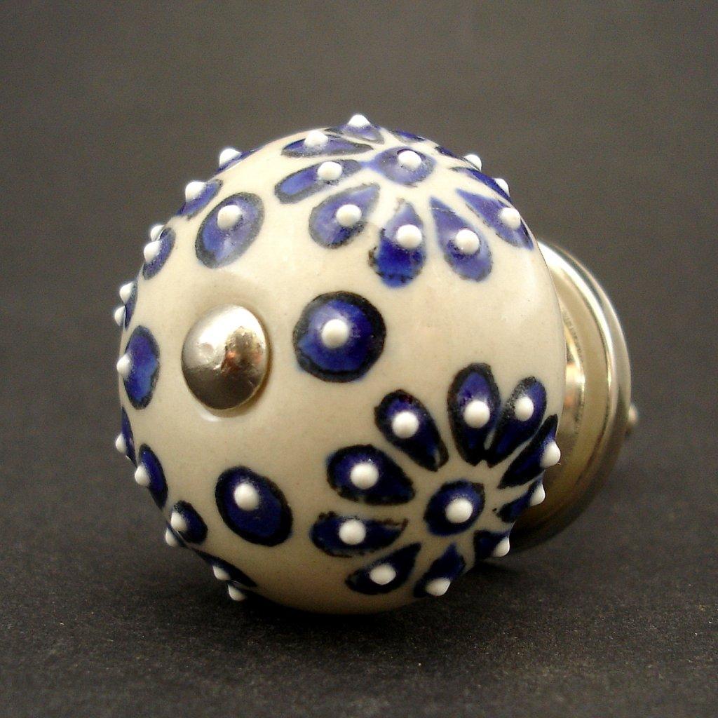 Keramická úchytka- Modré květy