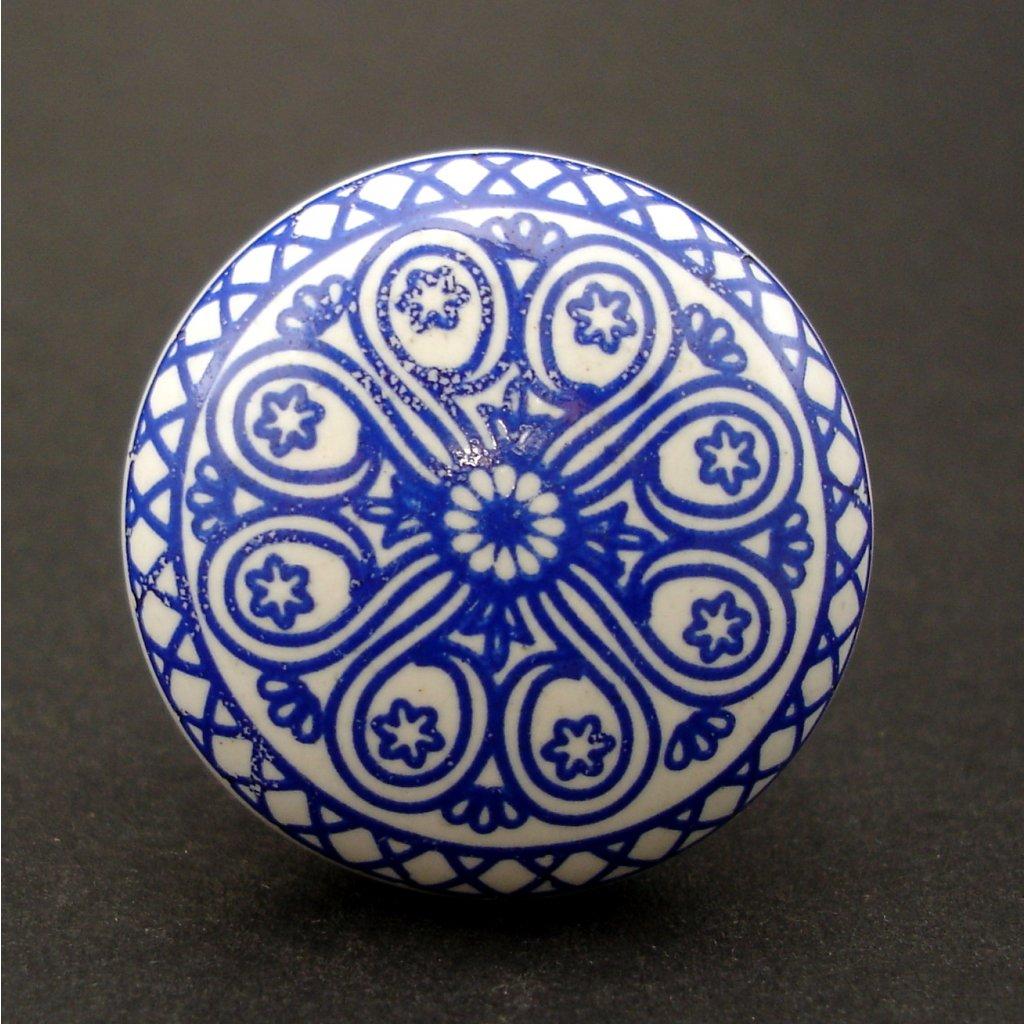 Keramická úchytka-Mandala modrá-POTISK