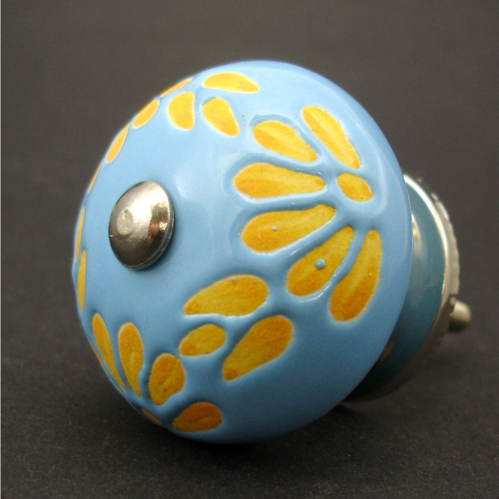 Keramická úchytka-Modrooranžová