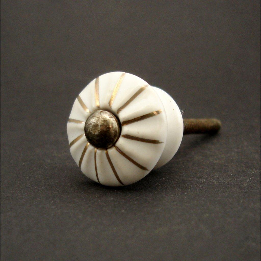 Knopka bílá-Zlatý proužek-model 2