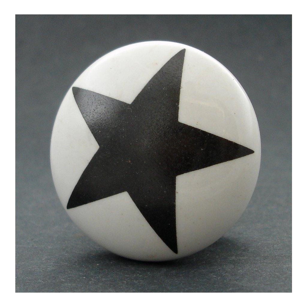 Keramická úchytka-Hvězda černá-POTISK
