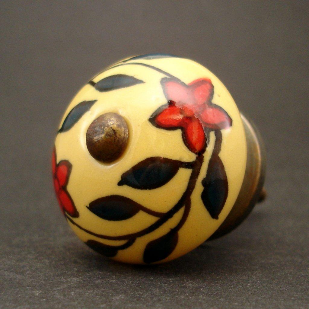 Keramická úchytka-Květy na žluté