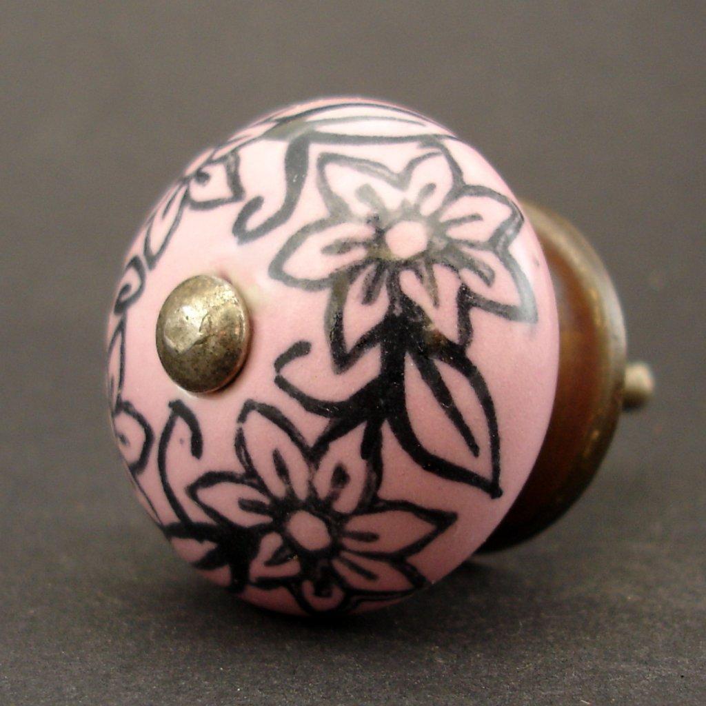 Keramická úchytka-Růžová romance