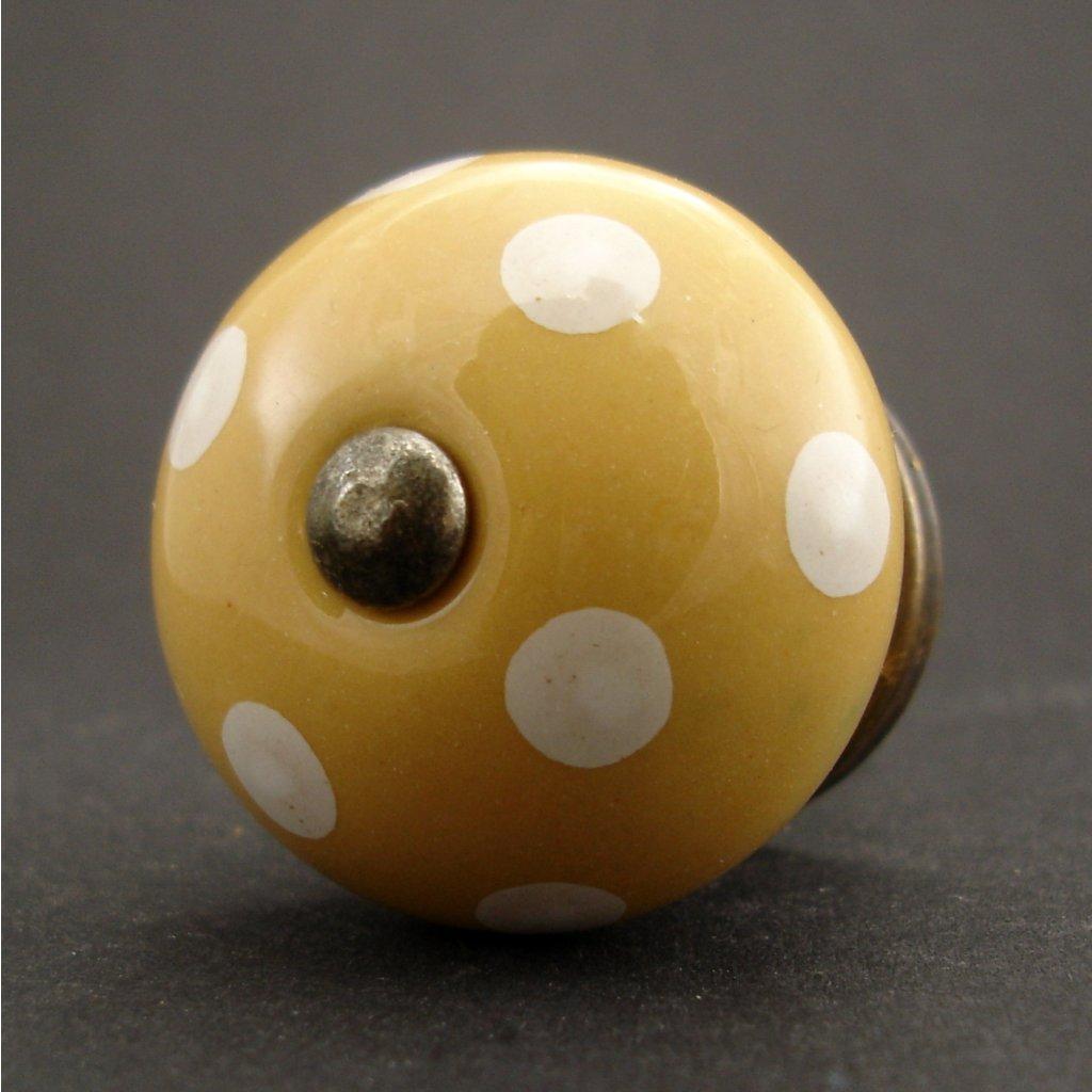 Keramická úchytka-Melounová s puntíky
