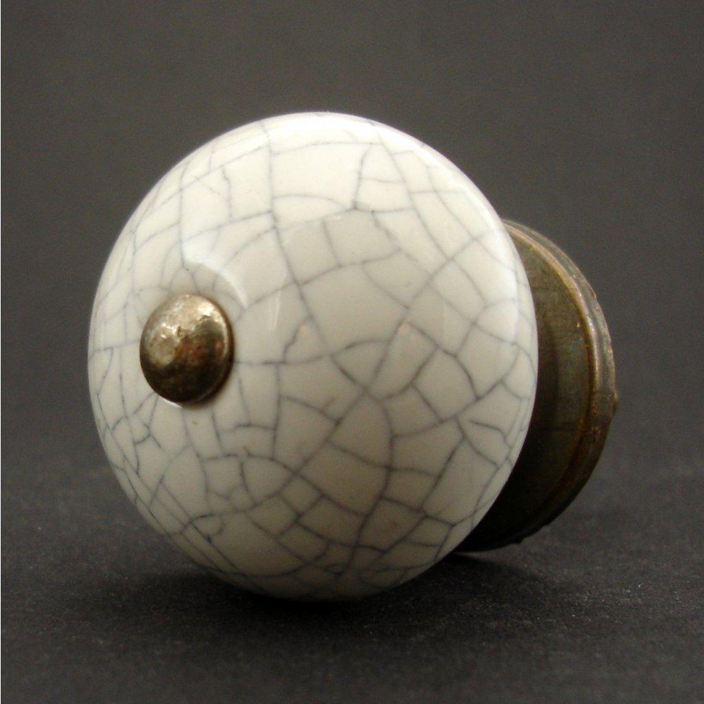 Keramická úchytka-Bílá crackle