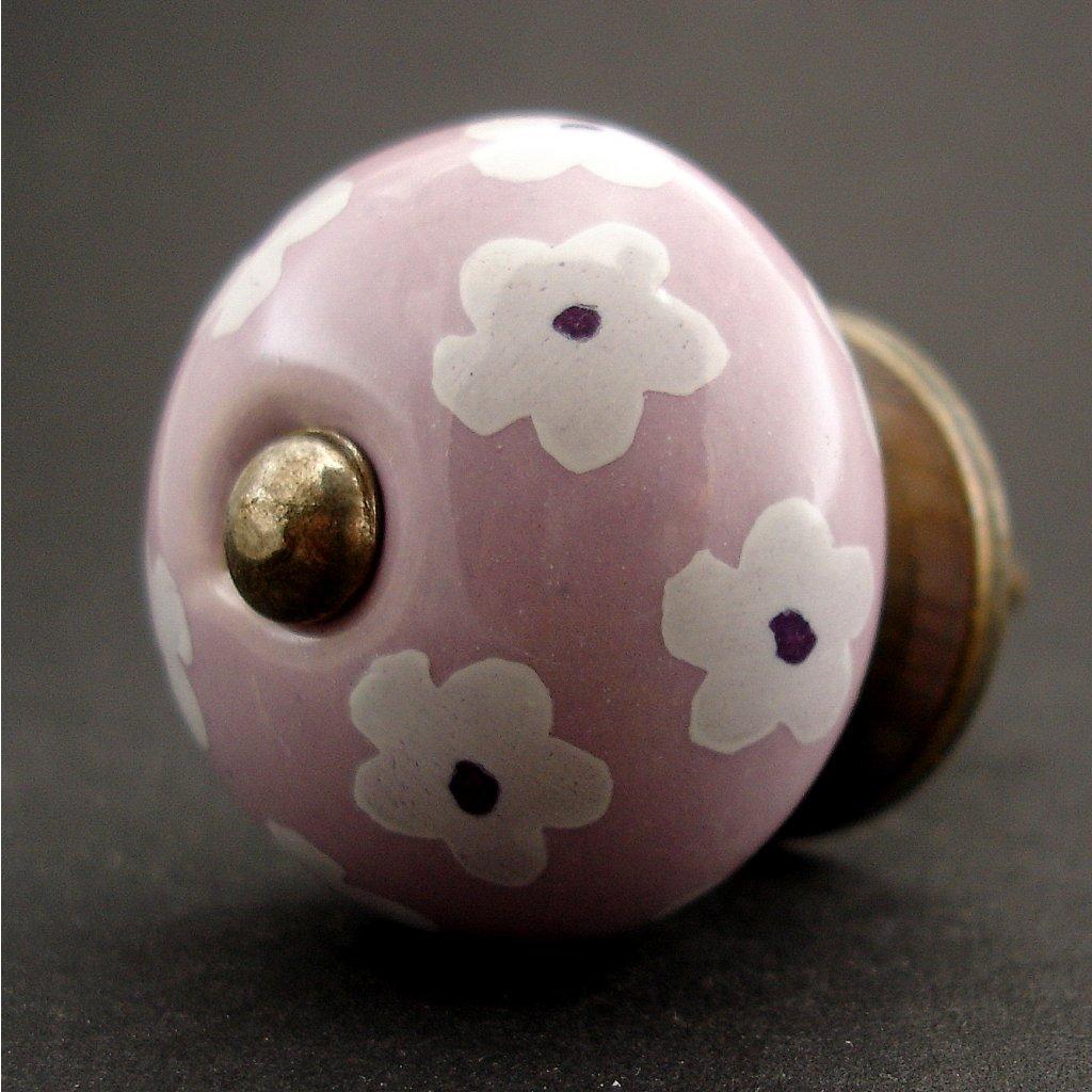 Keramická úchytka -Krásnoočko lila