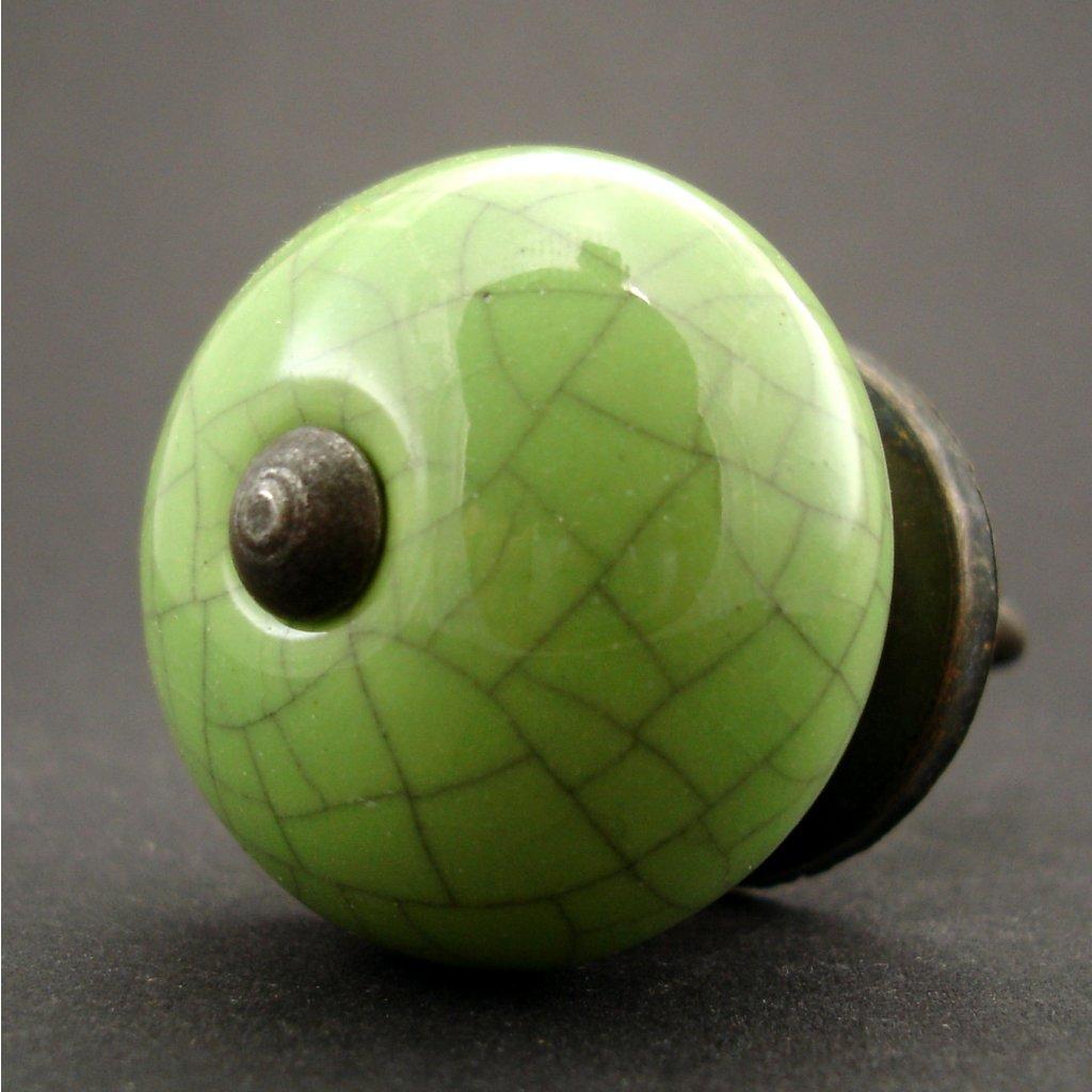 Keramická úchytka-Zelená crackle