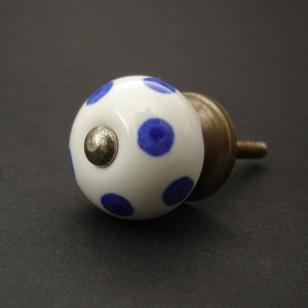 Keramická úchytka- Modré puntíky- MALÁ