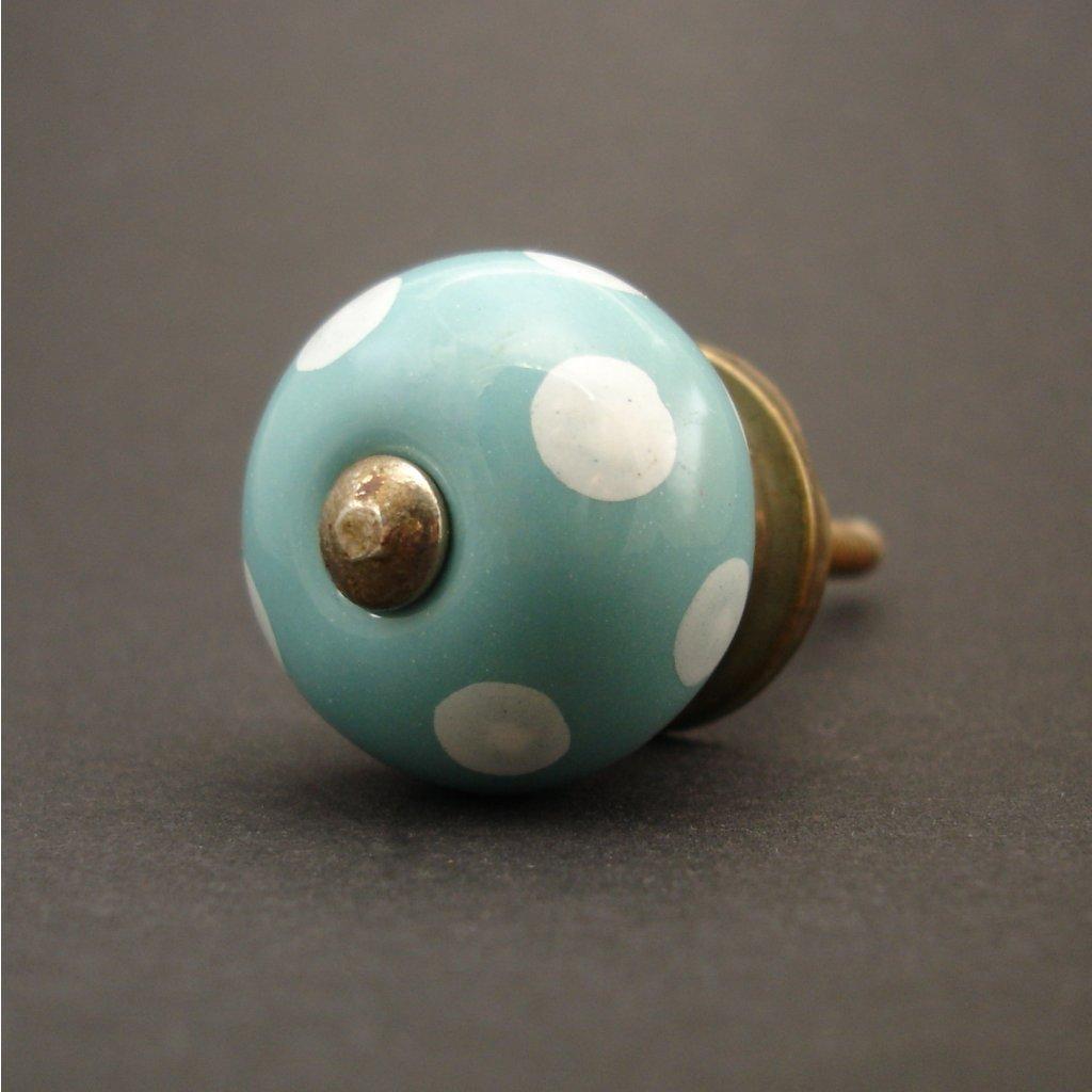 Keramická úchytka-Tyrkysová s puntíky-MALÁ
