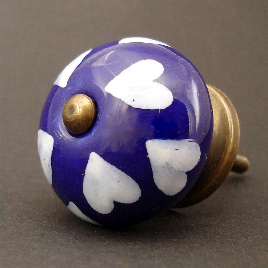 Keramická úchytka-Bílá srdíčka na modré