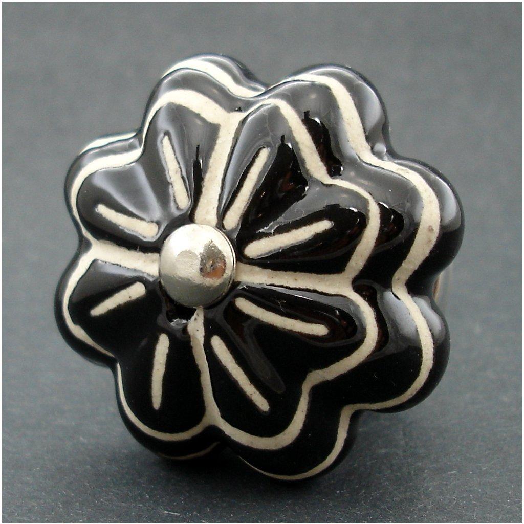 Keramická úchytka-Černý květ neglazovaný vzor