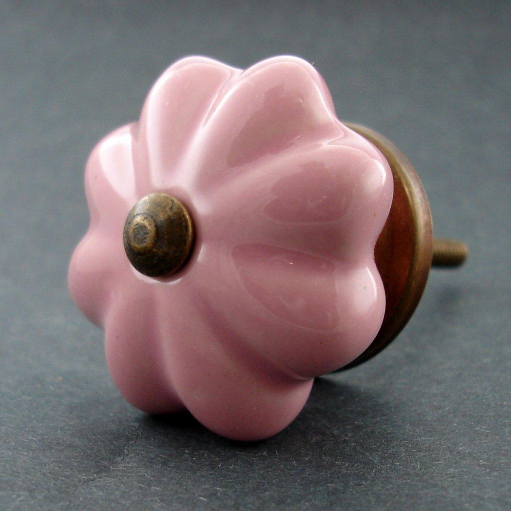 Keramická úchytka-Růžový květ menší