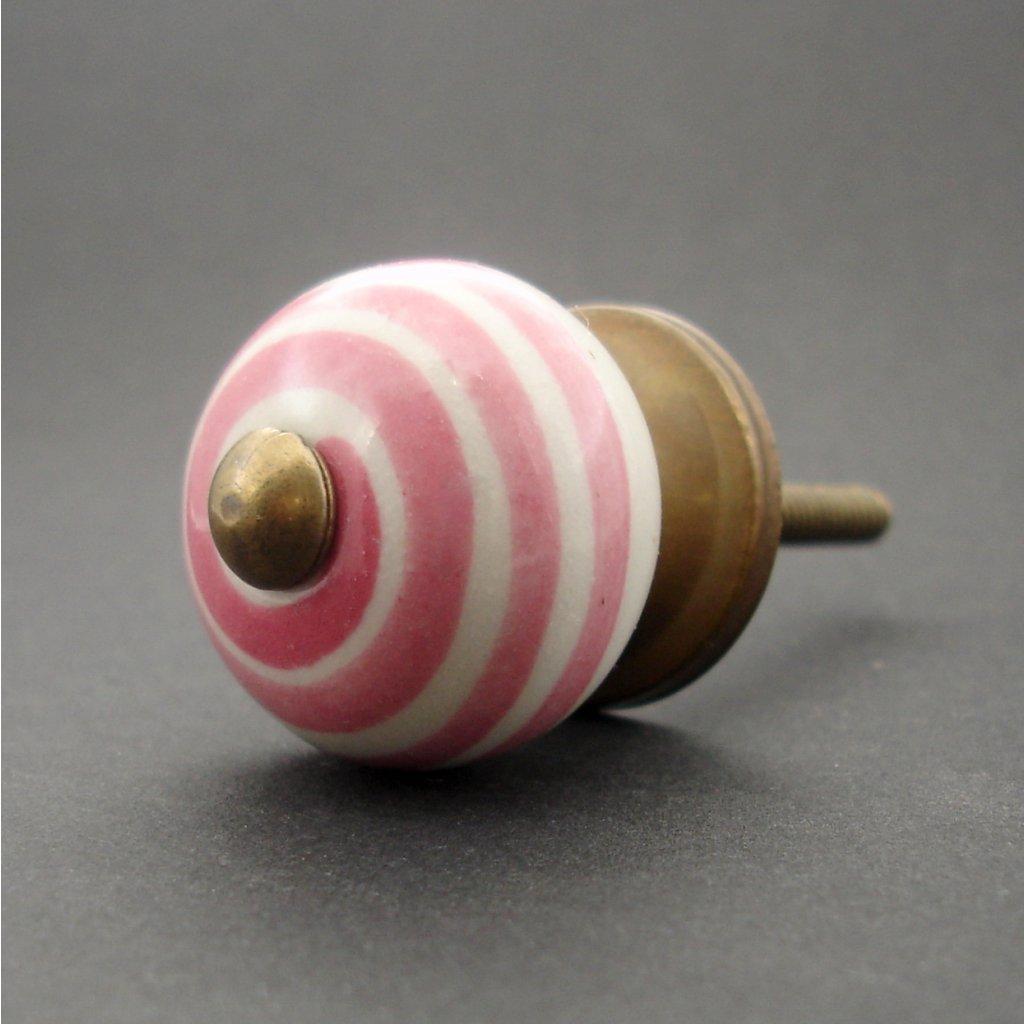 Keramická úchytka-Růžová spirála
