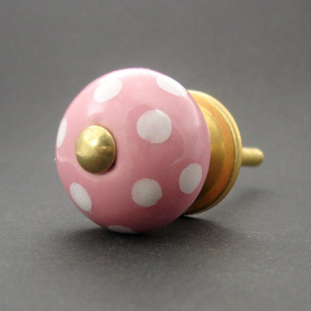 Keramická úchytka-Růžová s puntíky