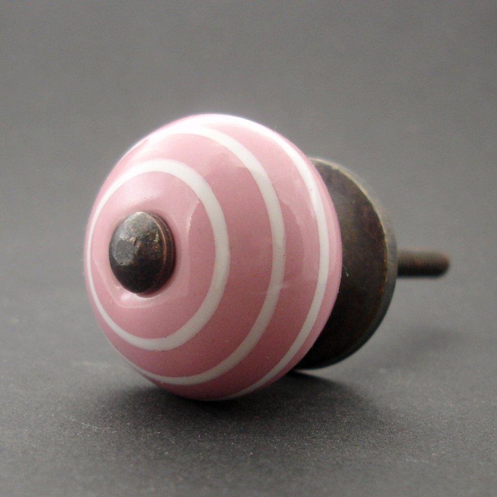 Keramická úchytka-Růžová s proužky