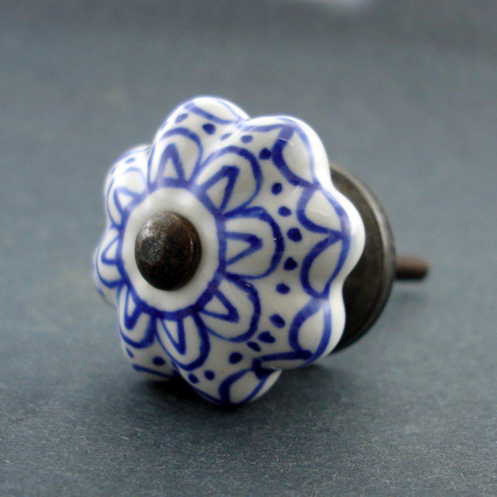 Keramická úchytka-Modrá krajka-SMALL