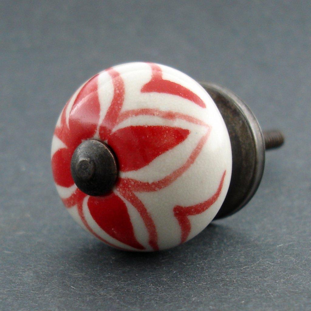 Keramická úchytka-Červená hortenzie-MALÁ