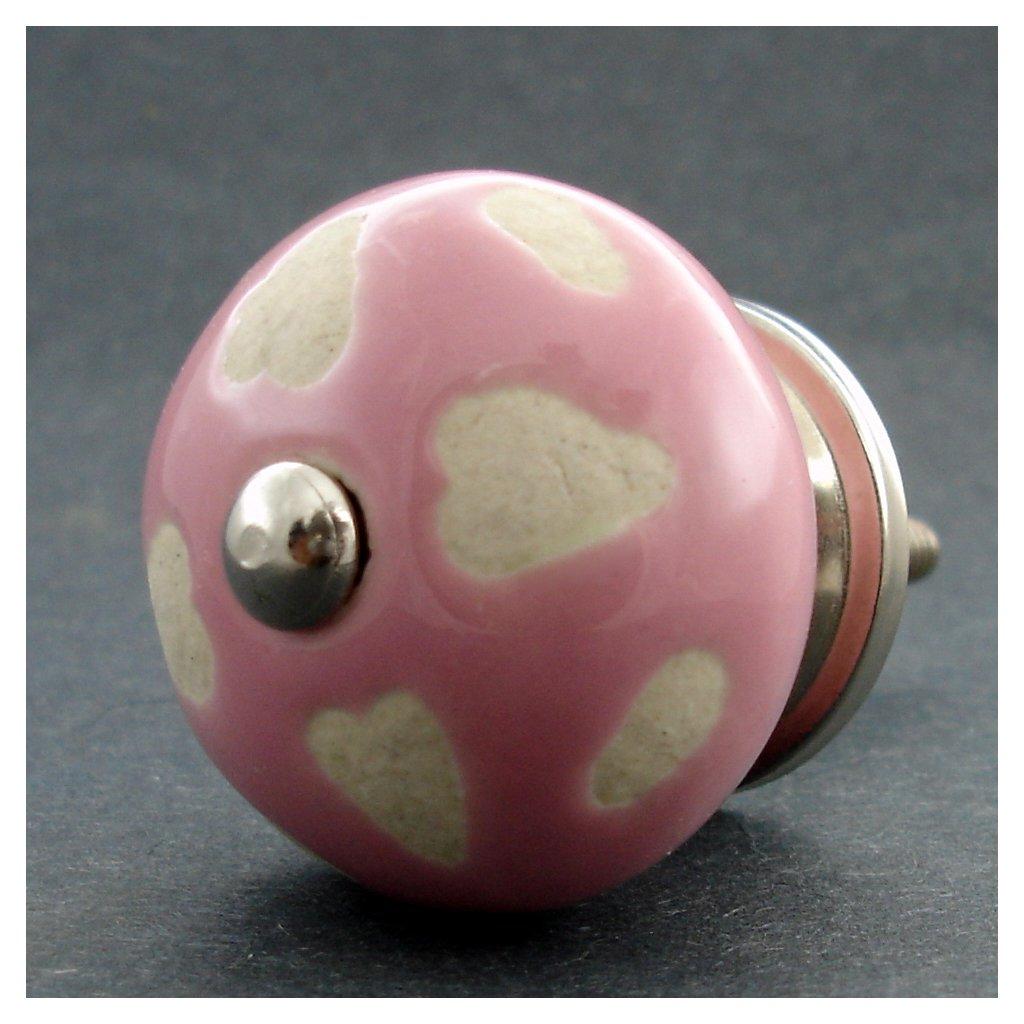 Keramická úchytka-Neglazovaná srdíčka-Růžová