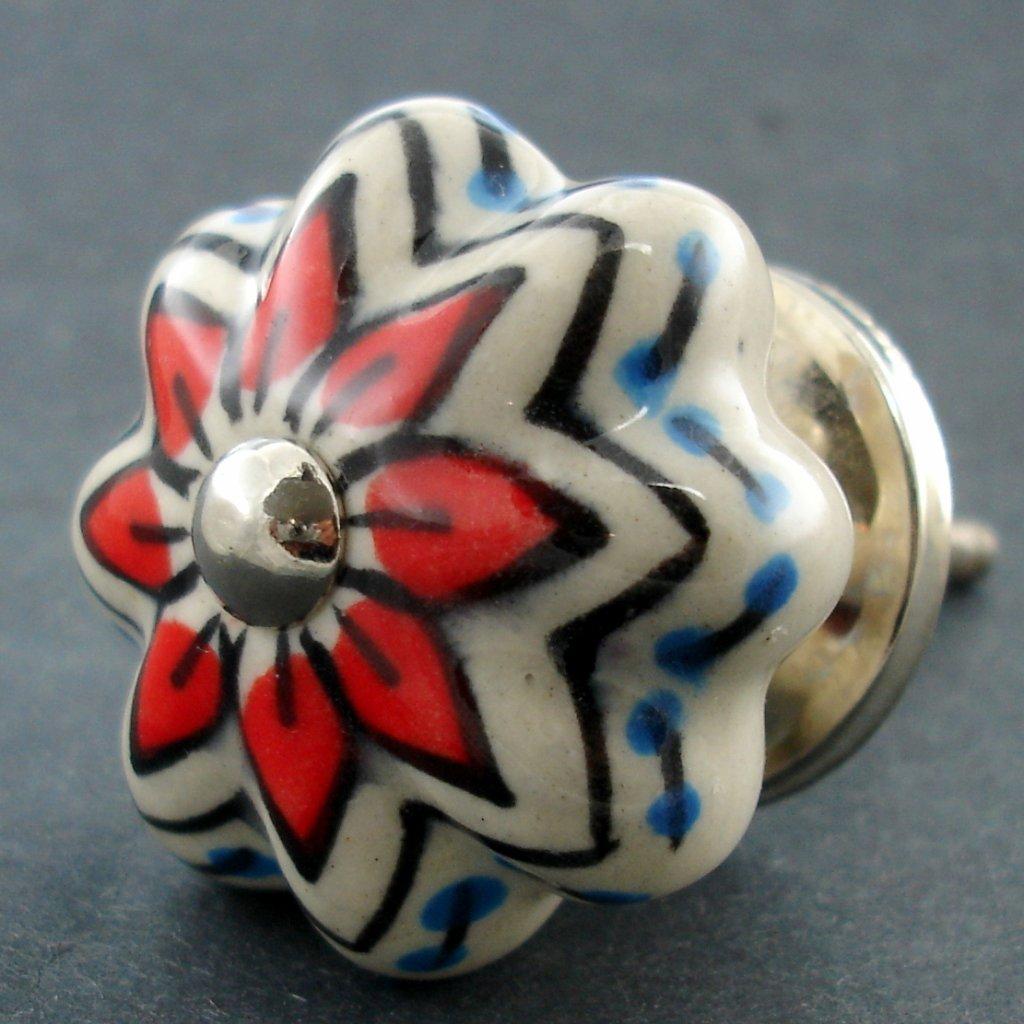 Keramická úchytka-Přírodní s hvězdičkou