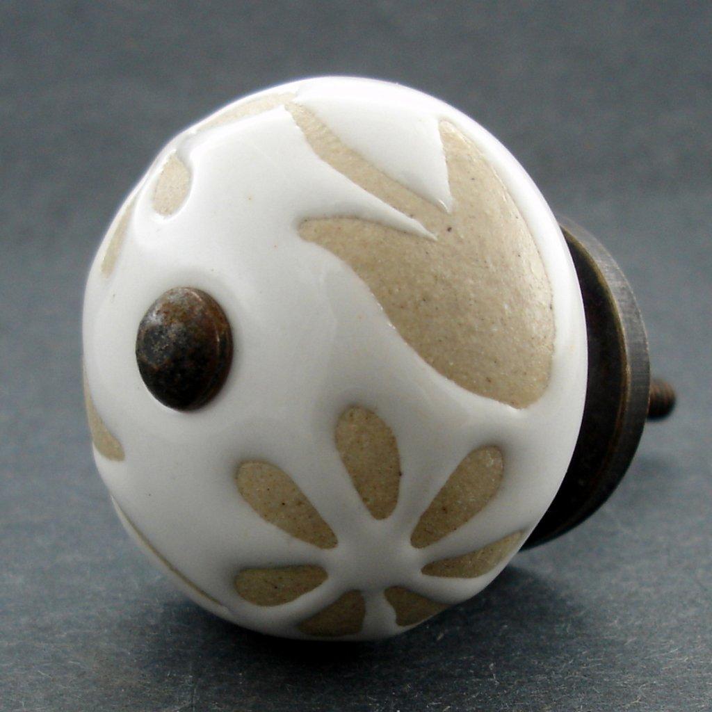 Keramická úchytka-Bílá s neglazovanými květy