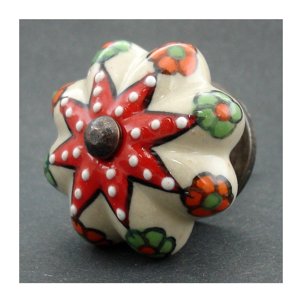 Keramická úchytka-Přírodní s hvězdicí