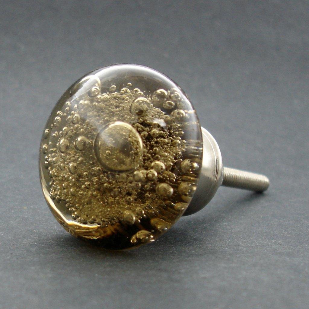 Skleněná úchytka-Písková bublinka