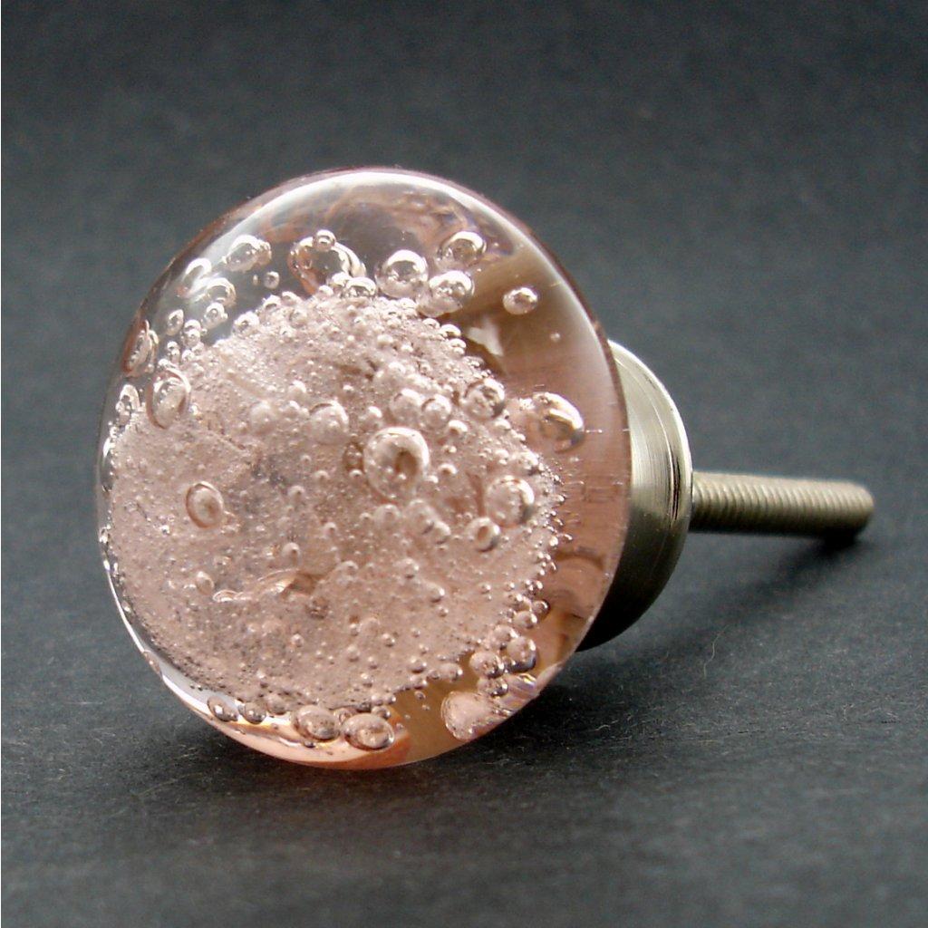 Skleněná úchytka-Růžová bublinka